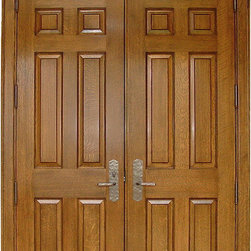 Homestead Doors, Inc - Arch 8-Panel White Oak Solid Wood Double Door - This is a custom 8-panel White Oak double door with a shared cathedral arch that is perfect for colonial style homes. White Oak is a beautiful hardwood that features a traditional cathedral grain pattern and can be stained to coordinate with the color schemes of your home.