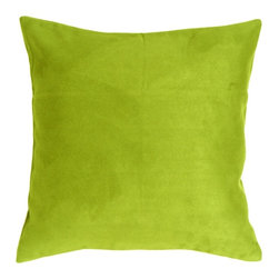 Pillow Decor - Pillow Decor - 18 x 18 Royal Suede Lime Green Throw Pillow - 100% Polyester microfiber, enticingly soft faux suede pillows. The right scale for sectionals, sofas and larger scale chairs. They easily mix with other colors, shapes and sizes in the Royal Suede collection for endless combinations!