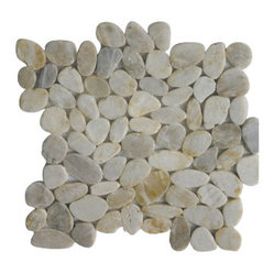 Design For Less - Sliced Smokey White Pebble Tile - If you're seeking the look of stone pebbles but don't want the uneven surface they can create, this sliced pebble tile is for you. White, gray and amber pebbles are combined in a flat tile that's handmade and features a mesh backing for seamless application — whether it's in your kitchen, bathroom or outdoor living space.
