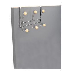 Over The Door 6 Metal Hooks Rack Chrome/Wood - This over the door 6 metal hook rack is metal with wooden hanging balls. Easily add storage to any bathroom, closet or room in your home without the need for tools or hardware. Store your towels, bathrobes, clothes and other accessories by taking advantage of unused space. Color chrome and wood. The sturdy brackets fit over the top of any standard door up to 1-3/8 thick. Wipe clean. Width 10.23-Inch, depth 1.77-Inch and height 7.87-Inch. This over the door 6 metal hook rack will help you to create convenient hanging spaces and will give your bathroom a modern style. Complete your decoration with other products of the same collection. Imported.