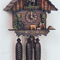 Schneider Cuckoo Clocks - 8-Day Peddler Chalet Style Black Forest House Cuckoo Clock - 8-day rack strike movement. Wooden cuckoo, dial with roman numerals and hands. Wooden cuckoo calls and strikes every half and full hour. Shut-off lever on left side of case silences strike, call and music. Hand painted dancing figurines, water wheel rotate and wood-chopper moves to music on full hour. Hand painted pressed resin clock peddler. Swiss music movement with two melodies. Made from wood. Hand painted flowers. Made in Germany. 9.1 in. W x 8.7 in. D x 12.6 in. H (17.6 lbs.). Care Instructions