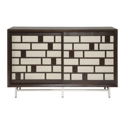 Vanguard - Higgins Plsma Console - The brick-like design and mixed media style fortify this console's uncommon look. Media mecca or cocktail cabinet, you decide. Anyway you use it, it'll certainly make a bold statement!