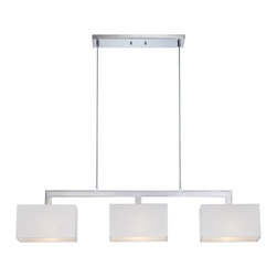 Quoizel - Quoizel REM345C Remi 3 Light Island Lights in Polished Chrome - The Remi Collection gives a nod to mod with its gleaming Chrome finish and angular arms. The square shades echo the geometric shape, which is artistically carried through on the square canopy.