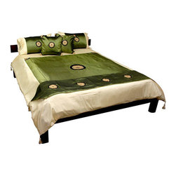 Oriental Furniture - Thai Silk Medallion Duvet Set - Jade Queen - - An outstanding Asian style six piece bedding set, crafted from excellent quality Thai woven silk. Each piece is beautifully decorated by contrasting black circle medallions with golden sunburst designs embroidered in the center, offered in Queen; King sizes only.   Lustrous Thai silk bedding set with golden sunburst medallion design.  6 piece Thai silk bedding sets, offered in Queen and King sizes only.  From a collection of unique two tone Thai designs.  Includes zippered comforter cover, two standard pillow cases, two square zippered throw pillow covers, and decorative runner.   Thailand has produced fine quality silk for 1000 years. The low direct import price of these sets represents exceptional value. The beautiful sheen of the woven fabric catches and reflects light, creating a rich, refined, jade green luster. Oriental Furniture - FN-BEDM-JAD-Q