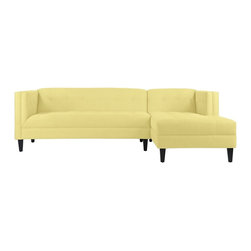 Apt2B - The Pacific 2Pc Sectional, Lemonade, Chaise on Right (as Shown) - This handsome sectional will give any room a classic feel. The tight tufting on the seat, back, and inside arms with detailed stitching shows that the devil really is in the details. The Pacific's simple lines make it perfect for a small space. Each piece is expertly handmade to order in the USA and takes around 2-3 weeks in production. Features a solid hardwood frame and upholstered in a textured poly-blend fabric.