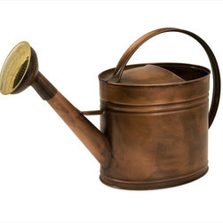 """Imax Worldwide Home - Tauba Large Oval Copper Watering Can - Antique look, water tight, copper pitcher features ribbed detail and handle that stretches from front to back; Country of Origin: Turkey; Weight: 3.3 lbs; Dimensions: 12.25""""h x 8.5""""w x 10.75""""d"""
