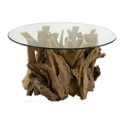 Uttermost - Driftwood Glass Top Cocktail Table - Natural, Unfinished Teak Driftwood Sculpted Into A Sturdy Table With A Clear Glass Top.
