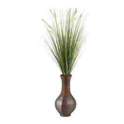 D&W Silks - D&W Silks Tall Onion Grass In Tall Wooden Vase - Tall Onion Grass with Beige Dogstail