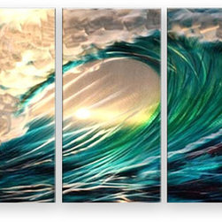 Matthew's Art Gallery - Metal Wall Art Abstract Modern Seascape The Waves - Name: The Waves