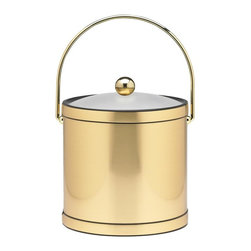 Kraftware - Mylar Ice Bucket in Brushed Brass - Bale handle. Lucite cover. Flat knob. 3 quart ice bucket. Made in USA. 9 in. Dia. x 9 in. H (3 lbs.)Kraftware's Mylars bring the look of Metal at Vinyl prices. Great value, Great looks, and Great Entertaining sum up the Mylar Collection.