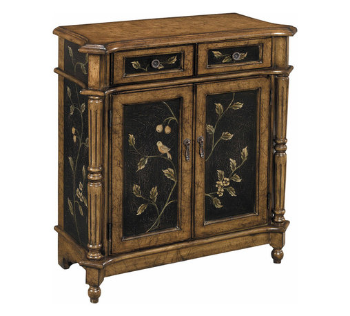 Stein World - Stein World Lucca Cupboard - Vintage style accent chest with two doors two drawers turned side columns in an aged crackle brown and black finish with hand painted bird and vine detailing.