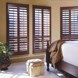 Norman Normandy Wood Shutters - Each shutter is custom hand crafted based on a 30-year tradition by the world's largest manufacturer of window coverings.