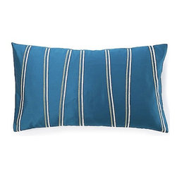 Jiti Pillows - Diagonal Poly Pillow in Blue - Features: -Color: Blue. -Material: 100% Polyester. -95% Feather, 5% down insert. -Indoor use. -Envelope closure. -Dry clean only.