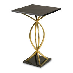 Currey & Company - Loomis Drinks Table - With a Contemporary Gold Leaf finished frame and arched wrought iron design, the Loomis drinks table marries simplicity with sheen. A black penshell table top and base pleasantly contrasts it's gold metallic shine.