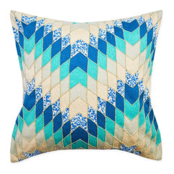 A1 Home Collections - Hand Crafted Embroidered Chevron Pillow, 20-Inch, Includes Removable Down Filler - Our Embroidered Chevron Pillow adds global pattern to any piece of furniture. The cotton cover is embellished by stitching vibrant threads together in an alternating pattern.