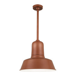 "THE BAILEY WAREHOUSE SHADE STEM MOUNT CEILING LIGHT - 18"" Bailey shown in 113-Metallic Copper Finish with BLO-3/4"" ST Mounting & BLO-HSC"