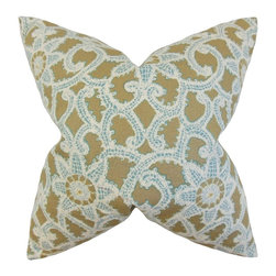 """The Pillow Collection - Brinley Geometric Pillow, Antique Gold 18"""" x 18"""" - This beautifully stylized accent pillow will reinvent your home in an instant."""