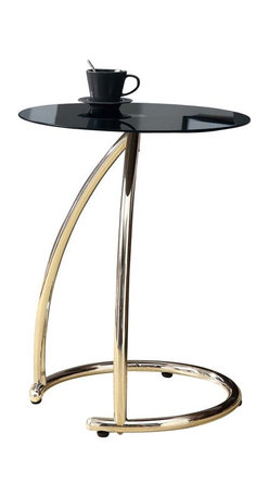 Monarch Specialties - Monarch Specialties 3004 Round Black Glass Top Accent Table in Chrome - To have or not to have just isn't an option! this handy accent table offers individuals a simple yet favorable way for placing drinks, snacks or meals while watching TV or chatting on the sofa. Its fashionable curved chrome metal base and black tempered glass top provide exceptional support to this must-have piece!