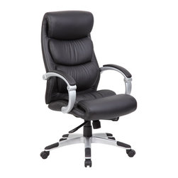 "Boss - Hinged Arm Executive Chair With Synchro-Tilt - Beautifully upholstered in ultra soft, durable and breathable black CaressoftPlus�. Hinged arms with padded arm rests. 2 to 1 synchro-tilt mechanism with adjustable tilt tension control. Seat tilt allows the seat to lock in any position throughout the tilt range. Pneumatic gas lift seat height adjustment. 27"" nylon base with black end caps. Hooded double wheel casters."