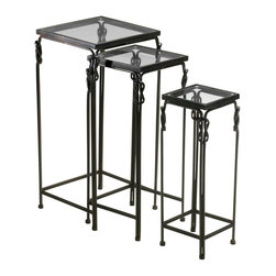 Cyan Design - Cyan Design Dupont Nesting Tables - Pack of 3 X-11340 - Reef knot detailing near the top of each nesting table helps to add an air of elegance and refinement to this set of Cyan Design nesting tables. From the Dupont Collection, this pack of 3 nesting tables each feature a square smoked glass top and coordinating metal frame in dark black tones.