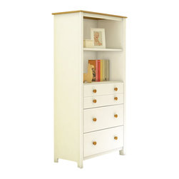 South Shore - South Shore Little Smiley Chest in Pure White and Harvest Maple - South Shore - Chests - 3715022 - You'll be charmed by this transitional-style shelving unit, part of the Little Smileys collection, that features large open storage spaces and a two-tone finish. This Little Smiley storage chest in White and Harvest Maple finish will add a traditional touch to your baby's room with its decorative groove on the upper drawer, its recessed sides and wooden knobs in Harvest Maple finish. It features two large, open storage spaces divided by an adjustable shelf and 3 practical drawers equipped with metal slides.