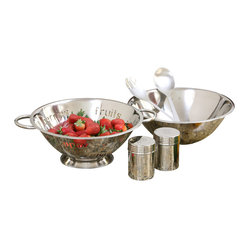 6-piece Stainless Steel Salad Gift Set with 4-quart Bowl and Colander