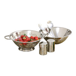 Cookpro - 6-piece Stainless Steel Salad Gift Set with 4-quart Bowl and Colander - Hail, Caesar — or whatever else you're tossing — with this sleek salad set. There's a four-quart bowl, a food-themed colander, two servers and salt and paper shakers all in sleek, shiny stainless steel. Create your own stunning house salad, or pass the set along as a gift.