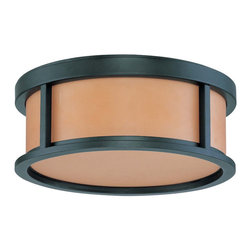 """Aged Bronze Energy Star Flush Ceiling Light With Parchment Glass 13"""" - Condition: New - in box"""