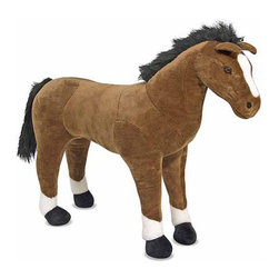 """Melissa and Doug - Horse Plush Stuffed Animal - This lovable, plush horse is one of the new additions to the plush family! So soft and cuddly, the Horse Plush Stuffed Animal is sure to generate excited neighs from its recipient. Premium quality and so incredibly low-priced that nearly anyone can start their own personal petting zoo! Features: -Ages 3+ -Dimensions: 35"""" H x 43"""" W x 12"""" D"""