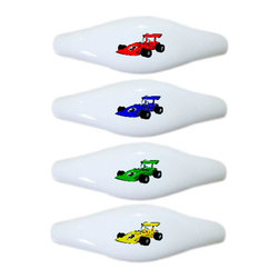 Carolina Hardware and Decor, LLC - 4 Race Car Ceramic Pull Handle, Drawer Pulls - New ceramic cabinet, drawer, or furniture pull with mounting hardware included. Pull has standard three inch centers.  Can be wiped clean with a soft damp cloth. Great addition and nice finishing touch to any room!