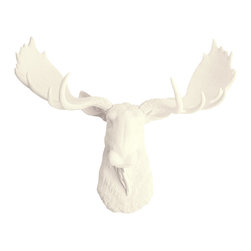 White Faux Taxidermy - The Oddley Faux Resin Moose Head, Antique White - Measurements: