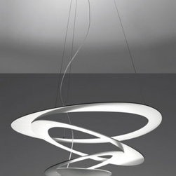 """Artemide - Artemide Pirce Mini Pendant - Product Details:   The Pirce Mini Pendant has been designed by Giuseppe Maurizio Scutelle  for Artemide Lighting. The unique design of this suspended luminaire will double as a piece of art in your home, gallery or office. The sleek spiral fixture is crafted from one continuous slender piece of stainless steel aluminum. Illumination is provided by 1 x 300W (R7S/T3) supplied.  Details:     Manufacturer:  Artemide   Designer:  Giuseppe Maurizio Scutelle      Made in:  Italy     Dimensions:   Height: 78 3/4"""" (200 cm) Diameter: 26 3/8"""" (67 cm)     Light bulb:   1 x 300W (R7S/T3) supplied     Material:  Aluminum, Stainless Steel    Product Details:   The Pirce Mini Pendant has been designed by Giuseppe Maurizio Scutelle  for Artemide Lighting. The unique design of this suspended luminaire will double as a piece of art in your home, gallery or office. The sleek spiral fixture is crafted from one continuous slender piece of stainless steel aluminum. Illumination is provided by 1 x 300W (R7S/T3) supplied.  Details:     Manufacturer:  Artemide   Designer:  Giuseppe Maurizio Scutelle      Made in:  Italy     Dimensions:   Height: 78 3/4"""" (200 cm) Diameter: 26 3/8"""" (67 cm)     Light bulb:   1 x 300W (R7S/T3) supplied     Material:  Aluminum, Stainless Steel"""