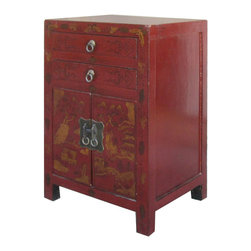 Golden Lotus - Red Chinese Lanscape Gold Painting Nightstand End Table Cabinet - Look at this Chinese nightstand end table which is made of solid elm wood.  It comes with Chinese landscape painting at the front of cabinet.