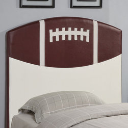 Coaster - 460169 Football Headboard - Create a fun look in the youth bedroom in your home with this sports baseball design headboard. Clean straight edges and a gently curved crown create a simple style in this headboard.