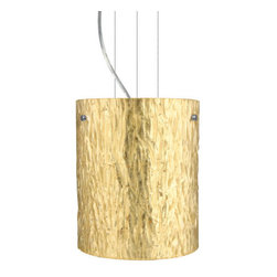 Besa Lighting - Besa Lighting 1KG-4006GS Tamburo 1 Light Cable-Hung Pendant - Tamburo is a classic open-ended cylinder of handcrafted glass, a shape that will stand the test of time. Our Stone Gold Foil glass is a clear blown glass with an outer texture of coarse sandstone, with distressed metal foil hand applied to the inside. Inspired by the elements of nature, the appearance of the surface resembles the beautiful cut patterning of a rock formation. This blown glass is handcrafted by a skilled artisan, utilizing century-old techniques passed down from generation to generation. Each piece of this decor has its own artistic nature that can be individually appreciated. The cable pendant fixture is equipped with three (3) 10' silver aircraft cables and 10' AWM cordset, and a low profile flat monopoint canopy.Features: