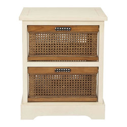 Safavieh - Jackson 2 Drawer Storage Unit - The British Colonial inspired Jackson two-drawer storage cabinet in cream finished pine offers a relaxed vibe and generous storage with its amber-toned cane baskets with cutout handles for easy access. Some assembly required.