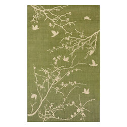 """Trans-Ocean - Plum Blossom Green Rugs 1773/76 - 4'11""""X7'6"""" - Casual and Simple pattern combined with beautifully blended yarns in modern colors make this Machine Made rug rise above the rest.Wilton Woven in Turkey of 100% Polypropylene and UV stabilized for Indoor or Outdoor use.A loose weave of Polypropylene creates the look of natural fibers but is easy to care for."""