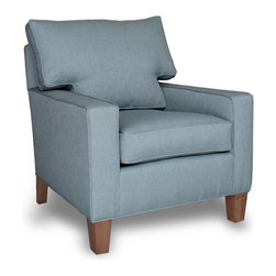 PURE Inspired Design - 31 Inch Wide Eco-Friendly Chair, Light Gray Plush - Oeko-Tex, 31 Wide Chair - Our 31 inch Wide Chair is scaled to fit into any room.  It is stylish and comfortable with square arms and boxed loose pillow back.  Our solid base fabrics coordinate with our patterned organic fabrics.  We build healthy, quality, made in the USA furniture!