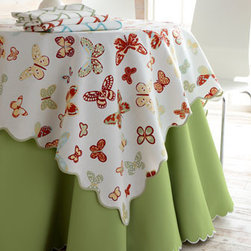 "Matouk - Matouk Savannah Gardens Cloth, 90"" Round - By Matouk. Choose (shown left to right) Pink, Spring Green, White, Butter, or Coral. White embroidered scalloped edge. Oblong cloth, 68""W. Placemat, 13"" x 19"". Napkin, 22"" square. Pique textured cotton/polyester. Machine wash. Made in USA...."