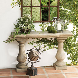 Grandin Road - Elle Stonecast Console Table - Elegant outdoor console table. Design inspired by carved stone antiquities. Crafted from Stonecast fiberglass, finished with the look of sculpted stone. Sturdy and light accent: completely outdoor safe and 1/4th the weight of stone. Maintenance free; simply rinses clean with a garden hose. Add a classical element to your outdoor room: our handcrafted Elle Stonecast console table looks like sculpted stone, only it's much lighter in weight, completely outdoor safe, virtually maintenance free—and it's remarkably affordable. Each console is sculpted from a unique Stonecast fiberglass material that's skillfully textured and finished to replicate natural stone. So go ahead and plan your garden party; with Elle on your porch or patio, you'll have a beautiful place to lay out an outdoor buffet or a blooming display.  .  .  .  .  . Each is finished by hand, so no two are exactly alike . Simple assembly .