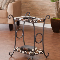 Upton Home - Castell Giraffe Animal Print Accent/ Side Table - The giraffe finish is textured faux leather and contrasts beautifully with the scrolling metal frame. This animal print accent table adds fun flare to the living room, bedroom, or entryway.