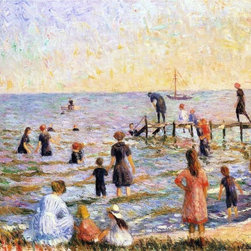 """William James Glackens Bathing at Bellport, Long Island   Print - 16"""" x 20"""" William James Glackens Bathing at Bellport, Long Island premium archival print reproduced to meet museum quality standards. Our museum quality archival prints are produced using high-precision print technology for a more accurate reproduction printed on high quality, heavyweight matte presentation paper with fade-resistant, archival inks. Our progressive business model allows us to offer works of art to you at the best wholesale pricing, significantly less than art gallery prices, affordable to all. This line of artwork is produced with extra white border space (if you choose to have it framed, for your framer to work with to frame properly or utilize a larger mat and/or frame).  We present a comprehensive collection of exceptional art reproductions byWilliam James Glackens."""