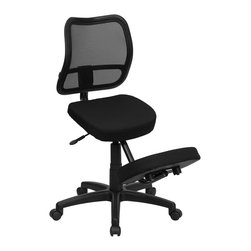 Flash Furniture - Ergonomic Kneeling Chair w Casters - Curved polypropylene mesh back. Thickly padded fabric upholstered seat and knee rest. Pneumatic seat height adjustment. Heavy duty nylon base. Dual wheel casters. Warranty: 2 year limited. Assembly required. Weight Limit: 250 lbs.. Back: 17.25 in. W x 17.25  in. H. Seat: 17 in. W x 13.25 in. D. Seat Height: 20.75 - 25 in.. Overall: 30.5 in. W x 24.5 in. D x 38 - 42 in. H (30 lbs.)