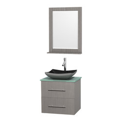 "Wyndham Collection - Centra 24"" Grey Oak Single Vanity, Green Glass Top, Altair Black Granite Sink - Simplicity and elegance combine in the perfect lines of the Centra vanity by the Wyndham Collection. If cutting-edge contemporary design is your style then the Centra vanity is for you - modern, chic and built to last a lifetime. Available with green glass, pure white man-made stone, ivory marble or white carrera marble counters, with stunning vessel or undermount sink(s) and matching mirror(s). Featuring soft close door hinges, drawer glides, and meticulously finished with brushed chrome hardware. The attention to detail on this beautiful vanity is second to none."