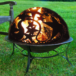 Fire Pit with Orion Fire Dome - Taking its cues from the constellations in the night sky, this fire pit's dome brings Orion down to earth. Lovely to behold when filled with firewood and lit, it features a built in spark screen and dome lift rod for safety. Wrought iron and steel construction ensures longevity and the set comes with everything pictured. Except, of course, the flame.
