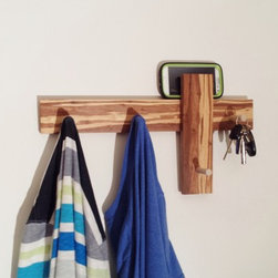 Modern Clothing Rack  iPhone or Mail Holder in Bamboo w/ 4 Wall Hooks by MOD-RAK - This extremely versatile piece works great as a clothing rack, key hanger, iPhone or mail holder and features 4 handmade hardwood hooks.  Made of eco-friendly bamboo this rack is sealed with a low voc water based polyurethane.