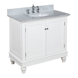 Kitchen Bath Collection - Bella 36-in Bath Vanity (Carrara/White) - This bathroom vanity set by Kitchen Bath Collection includes a white cabinet with soft-close drawer, Italian Carrara marble countertop, undermount ceramic sink, pop-up drain, and P-trap. Order now and we will include the pictured three-hole faucet and a matching backsplash as a free gift! All vanities come fully assembled by the manufacturer, with countertop & sink pre-installed.