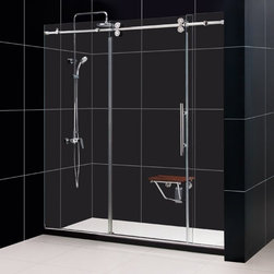 "DreamLine - DreamLine SHDR-60727912-07 Enigma Shower Door - DreamLine Enigma 68 to 72"" Fully Frameless Sliding Shower Door, Clear 1/2"" Glass Door, Brushed Stainless Steel Finish"