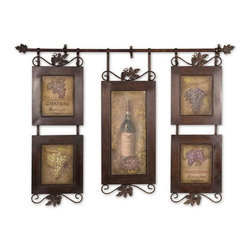 Uttermost - Uttermost 50791  Hanging Wine Framed Art - This hanging collage features oil reproductions with a hand applied brushstroke finish. frame is hand forged metal finished in brown with black distressing.