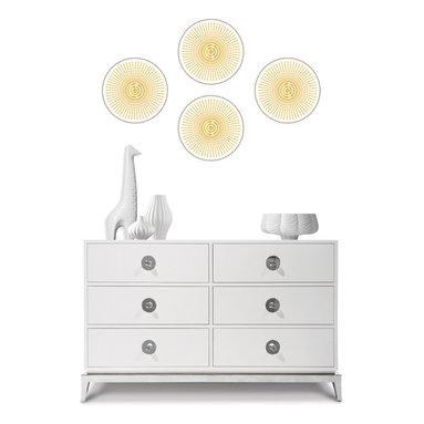 Santorini Dots WallPops by Jonathan Adler - WallPops by Jonathan Adler designer wall decals. Santorini has a shimmering mylar detail and a chic silver and gold palette.